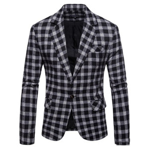 Fashion Plaid Blazer Men Slim Fit Single Button 2019 New Brand Clothing Blazer Jackets Casual Office Male Blazer