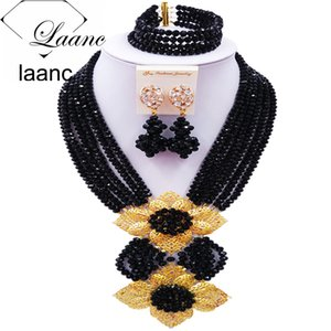 Laanc Fashion Black African Beads Jewelry Set Nigerian Wedding Bridal Jewelry Sets for Women 6CHLK005