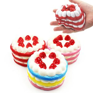 Decompression Toys PU For Big Kids Slow Rebound Squishy Simulation Strawberry Round Cake Available in Three Colors