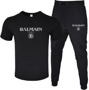 2020 BALMAIN Deux pièces de luxe Survêtement impression Mode hommes actifs T-shirt + vêtements pantalon long été New Taille S-2XL