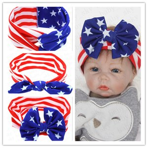BabyHeadbands American Flag Rabbit Ear Hair Bands National Day Independence Day Striped Star Baby Bow Headwrap Hair Accessories Hots D52704