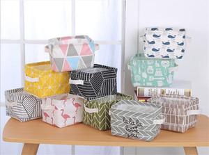 INS foldable storage basket waterproof cotton linen storage bag for desktop clutter cosmetic snacks toy organization storage bins