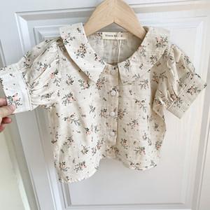 EnkeliBB verano del bebé floral camiseta de manga corta de lino lindo encantador Tops Camisetas niños, niño del florista de ropa de verano