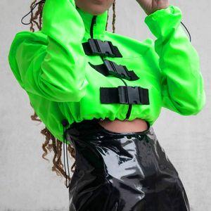 2020 Мода неоновый зеленый Женщины Короткие куртки молния Пряжка вскользь Ветровка с длинным рукавом Elastic кулиской пальто Streetwear