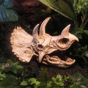 Evasion Reptile Maison Dinosaur Crâne Reptile Aménagement paysager Ornements Simulé Dinosaur Egg Fossil Aquarium Fish Tank Décoration