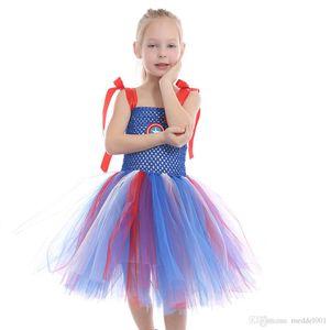 2019 Фантазия платье принцессы Christmas Party Дети одеваются Девушки Light Blue рукавов Парадные платья Halloween