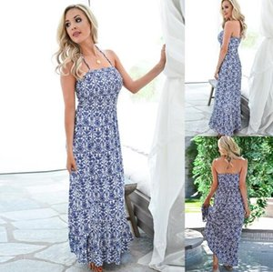Europa Estados Unidos transfronteiriça venda quente verão sexy moda novas mulheres cinta imprimir Casual Vestidos vestir