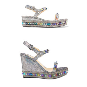 Espadrille Wedge Sandals Red inferior Mulheres sapatos de salto alto plataforma de Verão Sapatos de couro cobertas de brilho de prata de luxo 25 Cor