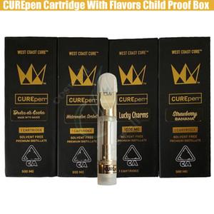 Neue Curepen Cartridges West Coast Cure Vape Pen Gold-TH210 Th205 Ceramic Spulen Carts mit Kindergesicherte Box Flavors Aufkleber Premium-Atomizer