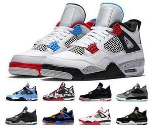 Com BOX 2020 New 4 Tattoo JACK Travis Scotts X Mens tênis de basquete 4s Houston Oiler Branco Cimento Raptors baratos Sneakers Royalty Retro