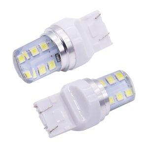 10X السيارات LED لمبة T20 7443 ستروب يبرق 2835SMD الطرفة سيليكون شل 7443 12 رقائق الباردة أبيض اللون 580 W21 / 5W W3x16q سيارة ضوء مصباح