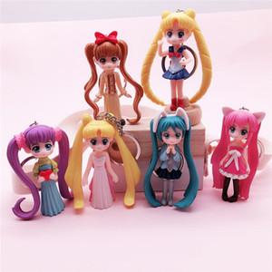 6 Stile catena Anime Figure Sailor Moon portachiavi sveglio del fumetto 3D Cosplay chiave del PVC Titolare Portachiavi Kids Party regalo chiave Trinket