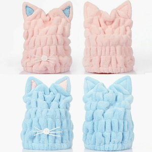 New 2020 Cute Cat Ear Design Shower Caps Women Kids Bath Cap Dry Hair Towel Hats Ladies Coral Fleece Absorbent Cat Ear Bath Caps