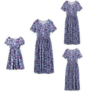 Mutter und Tochter Kleid lose beiläufige bequeme purpurrote Blumen-Blumendruck-Kleid Matching-Frauen-Mädchen-Familie Passende Kleidung