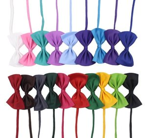 19 colors Pet tie Dog tie collar flower accessories decoration Supplies Pure color bowknot necktie IA626