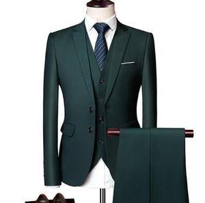 Vert foncé Wonderful Groom Male mariage Costume Vert Slim Fit Tuxedo Hommes formel Business Work Wear Costumes 3 Pcs Ensemble (Veste + Pantalon + Gilet) WL