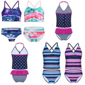 nova qualidade superior meninas miúdos Bikini Swimwear Striped Tankini Swimsuit maiô Praia 2pcs Set