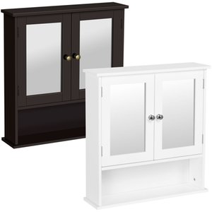 Bathroom Wall Mount Medicine Cabinet Storage Cabinet with Mirror Doors & Shelf