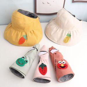 Sevimli Karikatür Çocuk Şapka Top Hat Kurbağa Çilek Ananas Pamuk Cap Güneş kremi Çocuk Seyahat Katlanabilir Caps boşaltın
