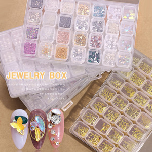 28 Grille Mixte Style Nail Art Nail décoration Glitters colorés avec Nail Art DIY Hard Case Décorations