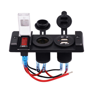 Car   RV   Ship Caravan Motorhome DC 12V Auto One-Band Lens Switchs Combination Panel Dual Usb Auto Lighter Socket
