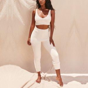 NewAsia Womens Loungewear Set Knitt Velvet Two Piece Set Top And Pants Summer Bodycon Crop Tops Trousers Jogging Femme 2020 New T200707