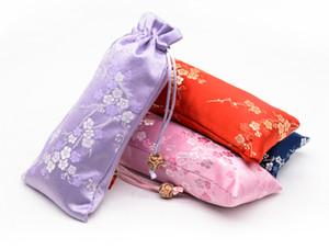 Çanta Ahşap Tarak Trinket Depolama Pocket Packaging uzatmak Cherry çiçekleri İpek Brocade Kılıfı İpli Takı Boncuk kolye Bilezik Hediye