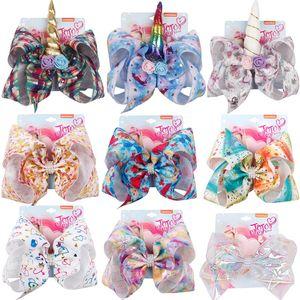Cheveux Arcs 8 pouces Licorne Big Christmas Bow Barrettes Accessoires de cheveux colorés avec de la mode à la fleur belle arcs de cheveux