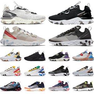 Nike react element 87 55 scarpe da corsa uomo donna leggero osso triplo nero allevato hyper rosa sneaker da uomo sport sneaker runner taglia 36-45