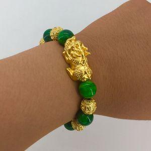 LY01 Gold Pixiu Sand Jade Stone Sand Sand 24k Pulsera vietnamita chapada en oro Mhlju
