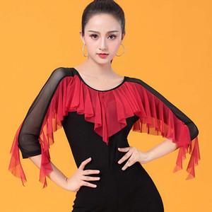 Danse de salon latine Chemises Femmes Danse Haut pour Tango Salsa Fringe Danse Costume De Danse Latine D0960 avec Des Volants