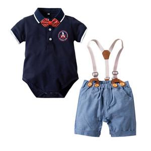 2019 새로운 유아 아기 소년 의류 신사 정장 나비 넥타이 짧은 소매 뛰어 돌아 다니는 멜빵 반바지 의상 세트 T200413