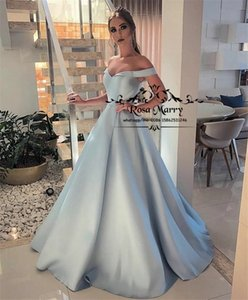 Elegant Off Shoulder Plus Size Prom Dresses 2020 Ball Gown Long Satin Cheap Simple Formal Evening Party Gowns Vestido De Fiesta Longo