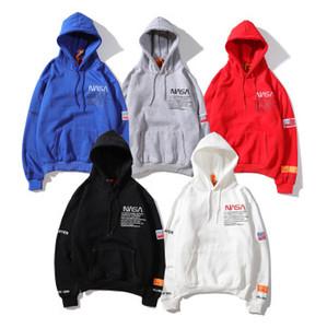 NASA con cappuccio uomini donne oversize hoodies degli uomini in cotone con cappuccio pullover del manicotto lungo streetwear felpa hip hop