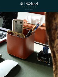 Weland Metal Orange Leather Retro Den Pen Holder Remote Control Storage Creative Desktop Countertop Decoration