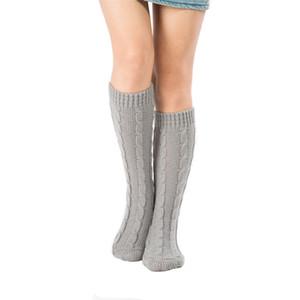 Medias para mujer de invierno de punto de ganchillo calentadores de la pierna larga lanas sobre la rodilla medias legging Botas de calcetería