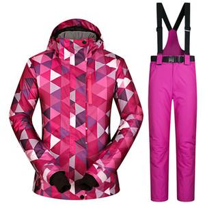Terno de esqui no inverno Mulheres à prova de vento impermeável revestimento respirável Neve fêmea e calças Mulheres esqui e snowboard Brands Jacket