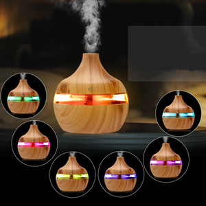New Aromatherapy Essential Oil Diffuser Diffusore Bamboo Umidificatore di legno GRANO A Ultrasuoni Cool Net Diffusori con 7 LED Colore Light H017