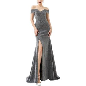 One shoulder dress split Sequin Bridesmaid Dress Lace party fish tail annual meeting evening dress