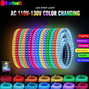 LED Strip Light, 220V Bluetooth / APP Dimmable 5050 RGB Flexent Color Changing Water Protocol Light with Remote for Building Outdor Home