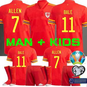 MAN + KIDS 2020 camiseta de fútbol de Gales BALA ALLEN James Wilson Ben Davies Camisetas camisetas del equipo nacional en casa Hombre + niños del fútbol superior de Tailandia