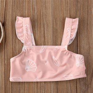 1-5 Years Kids Girls Swimsuits 2020 Summer Children Girls Ruffle Bikini Set Solid Pink Green Swimwear Girls Swimming Suit