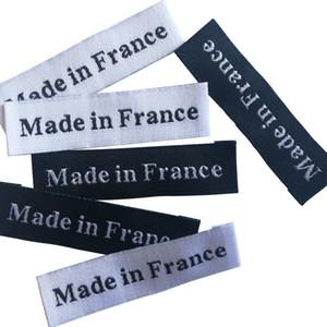 100 pcs / lote feito na França / Itália Etiquetas de origem para roupas de vestuário etiquetas artesanais para roupas noções de costura Etiqueta de costura