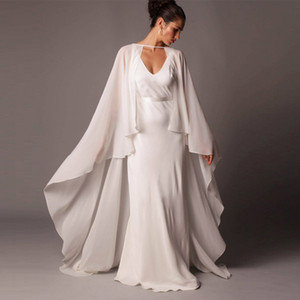 2020 Custom Made Chiffon Wedding Cabo Longo Branco Marfim até o chão Bridal Wraps baratos Handmade Manto