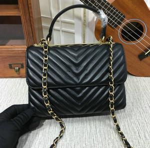 Preto Lambskin V acolchoado Chevron Flap Bolsa com alça superior 57213 Genuine ombro de couro do saco Mulheres 2020 Lady cadeia de moda bolsas