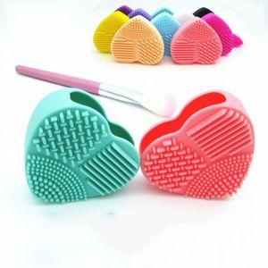 Pennello in silicone Brushegg Cuore Cleaner Egg spazzole di trucco Cleaner guanto di pulizia Brushegg estetica professionale compone le spazzole Strumenti