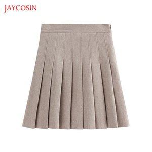 Jaycosin Yüksek Bel Pileli Etek Kadın 2020 İlkbahar Yaz Şık Ofis Etek Femme Katı Renk Mini Etek