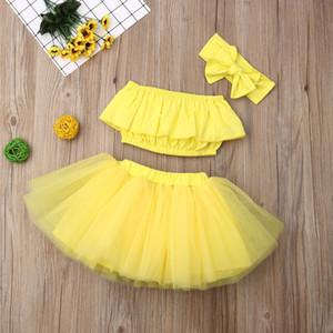 Set M116 etek Yaz Bebek etek kıyafeti 3pcs / Büyük yay Saç Band ve Tüp Üst Kısa Gazlı bez Etek çocuklarla set katı sarı renkli Kız tasarımcısı