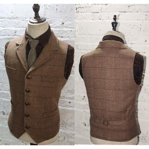 2020 Brown Plaid Gilet sposo per la lana di nozze a spina di pesce Tweed su ordine Slim Fit Mens Suit Vest Farm Prom Dress Plus Size Gilet