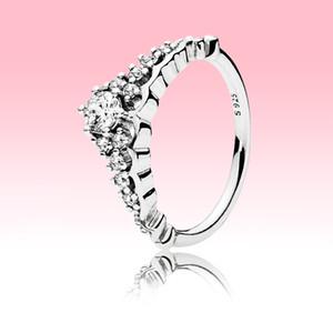 Frauen Big CZ-Diamant-Ehering mit ursprünglichem Kasten für Pandora Sterlingsilber 925 Märchen-Tiara Wishbone Ring-Verpflichtungs-Geschenk